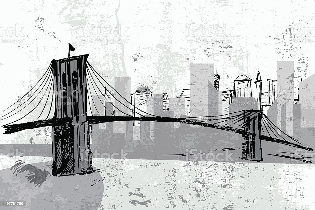 Hand drawn Brooklyn Bridge - vector vector art illustration