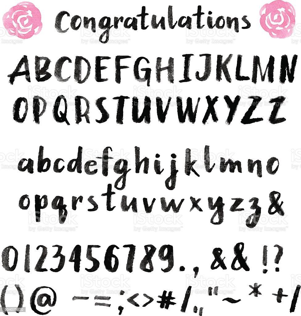 Hand drawn brush stroke font vector art illustration
