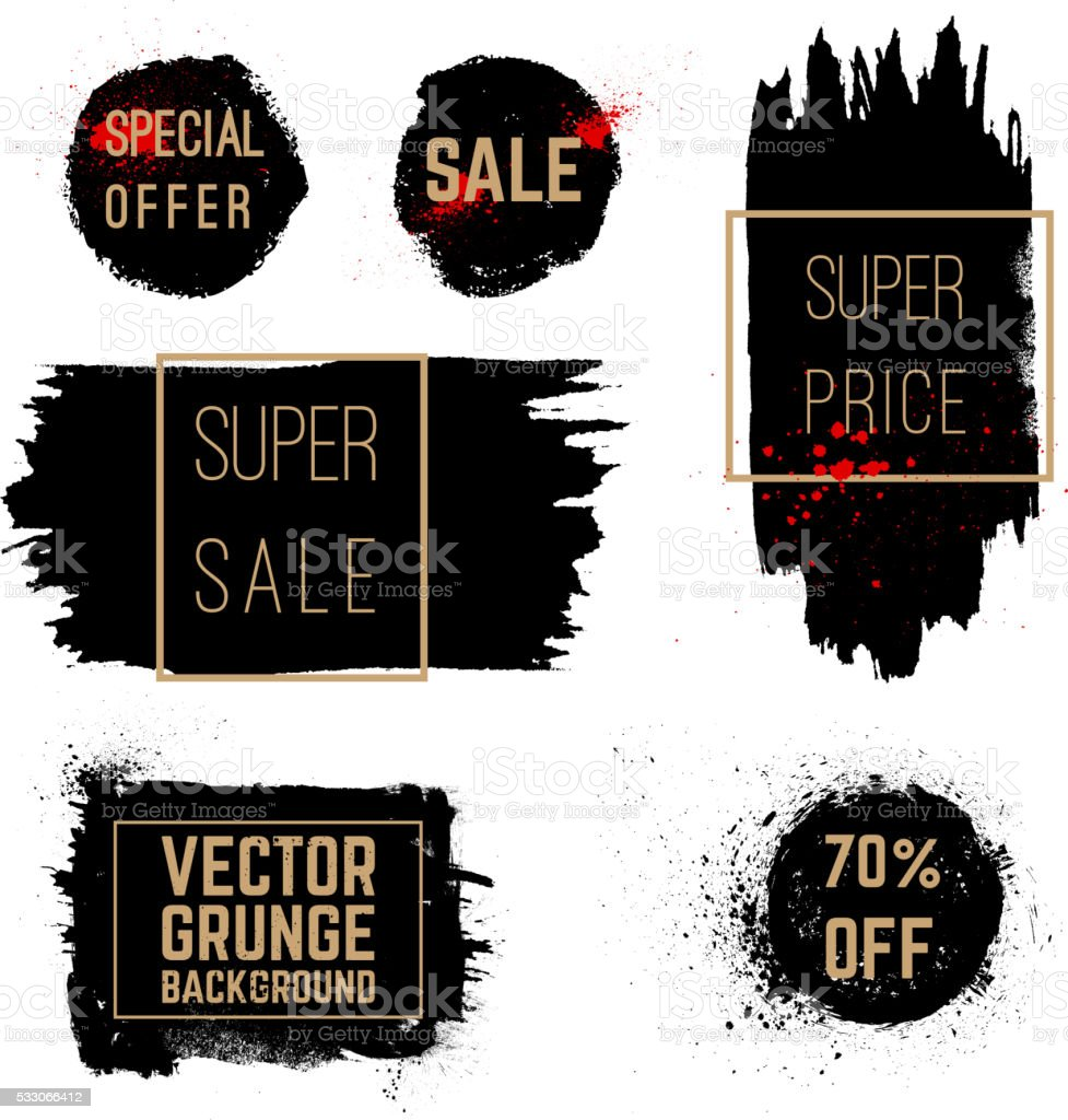 Hand drawn brush strokes. Grunge vector stains with banners. vector art illustration