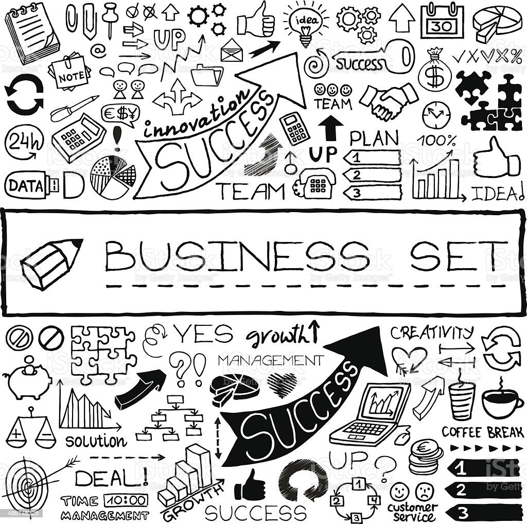 Hand drawn business set of icons vector art illustration