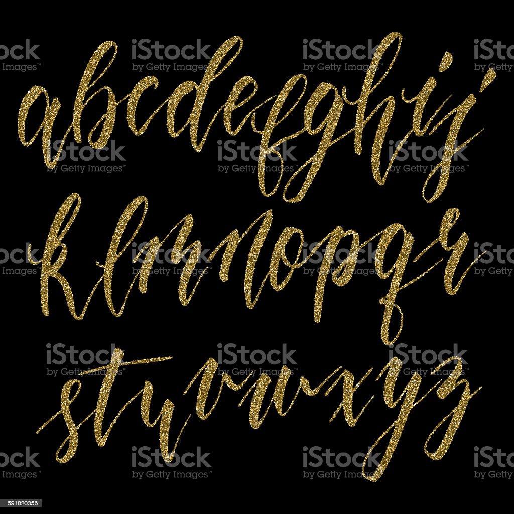 Hand drawn calligraphic alphabet vector art illustration