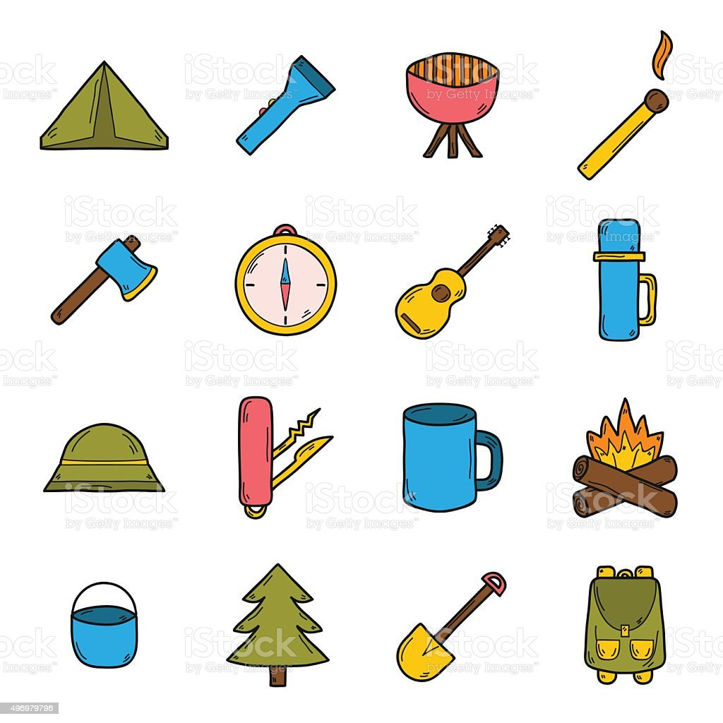 Hand drawn camping icons vector art illustration