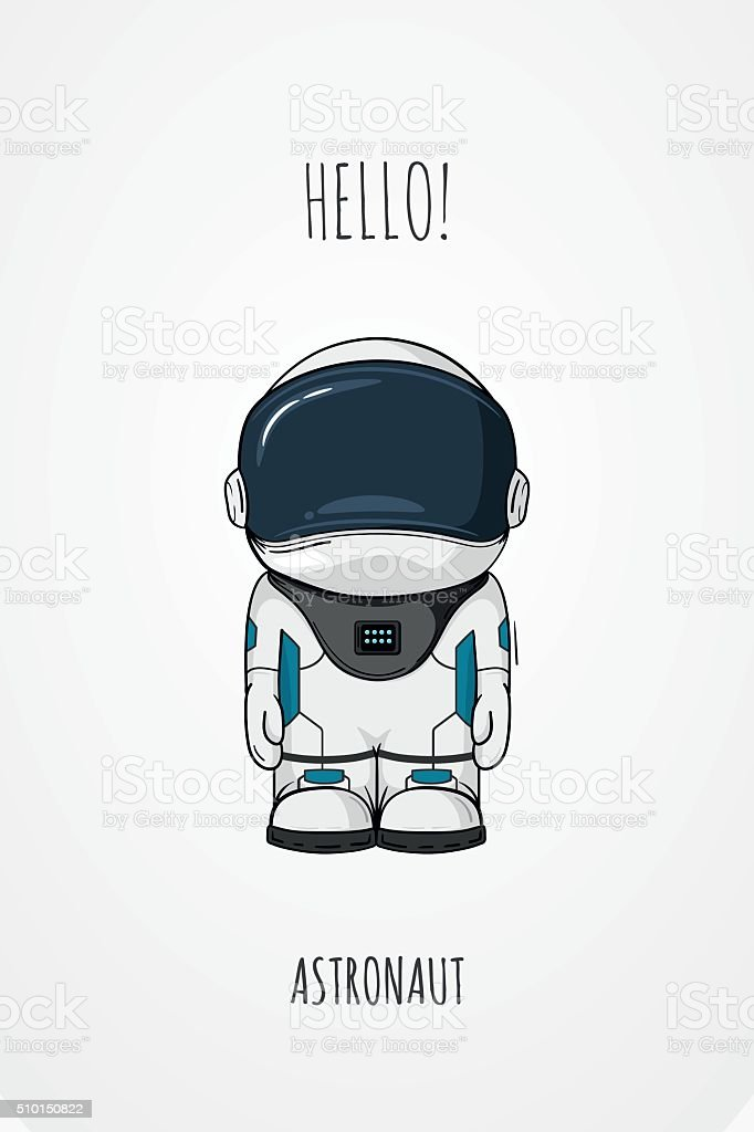 Hand drawn cartoon astronaut in space suit. One died. Line vector art illustration