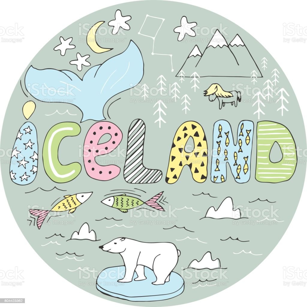 Hand drawn cartoon Iceland map vector illustration in a circle background vector art illustration