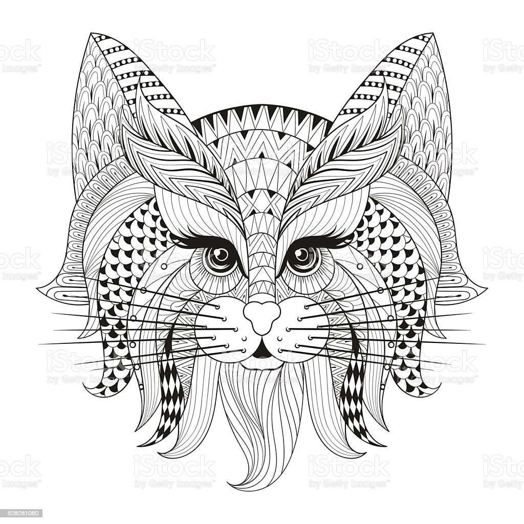 Hand Drawn Cat Face For Adult Antistress Coloring Page Stock - coloring page of a cat face