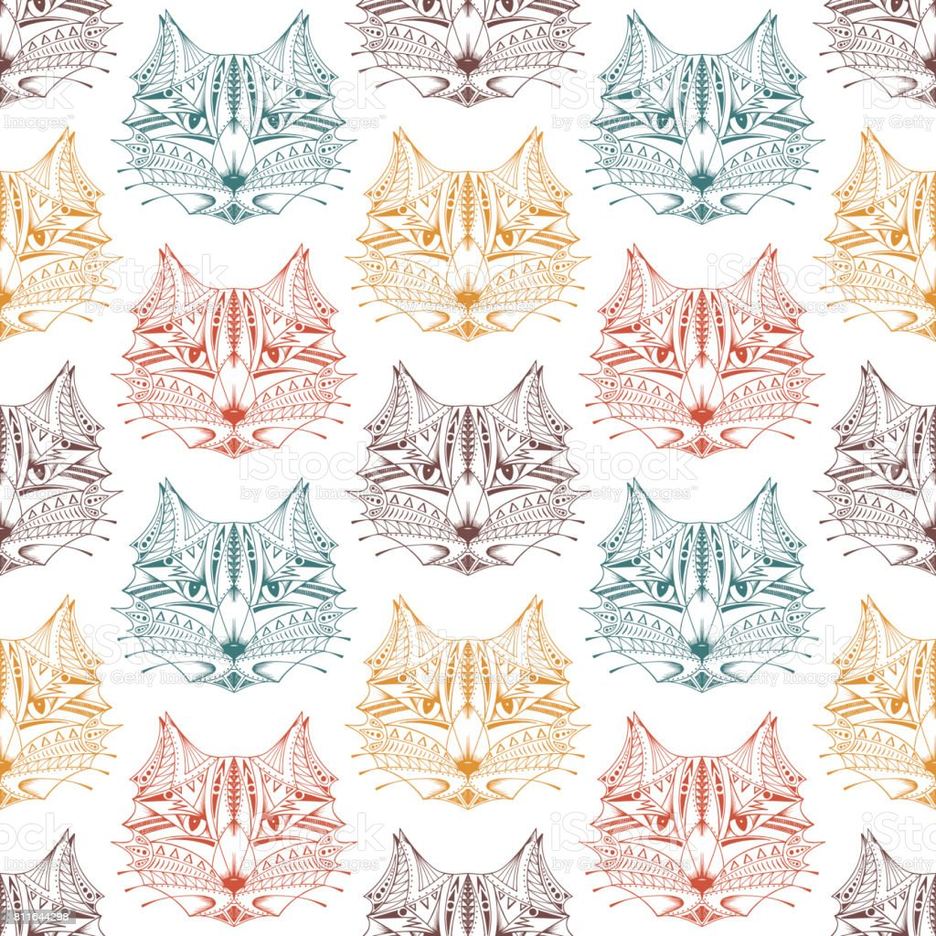 Hand drawn Cats heads Seamless pattern. Ethnic animal. Tribal patterned Cat vector art illustration