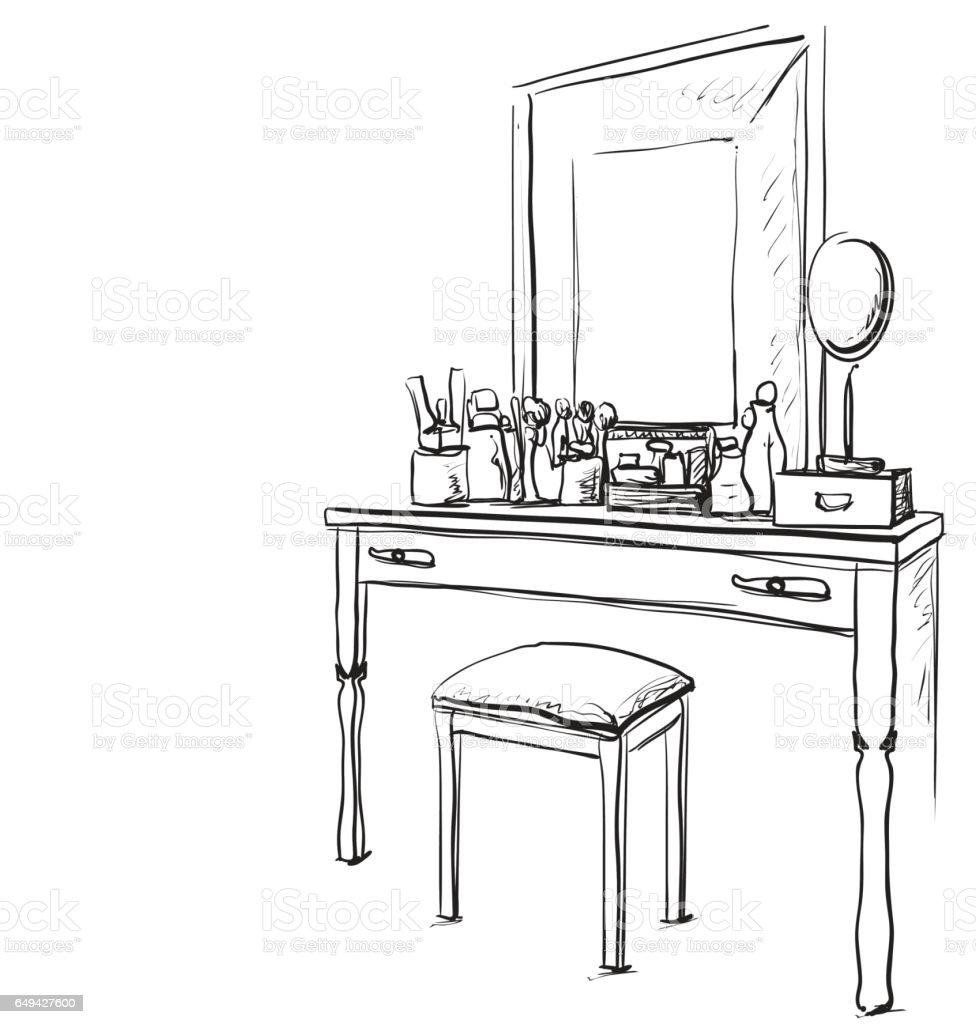 Hand drawn chair, table and mirror. vector art illustration