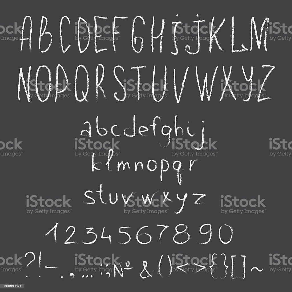 hand drawn chalk alphabet with numbers vector art illustration