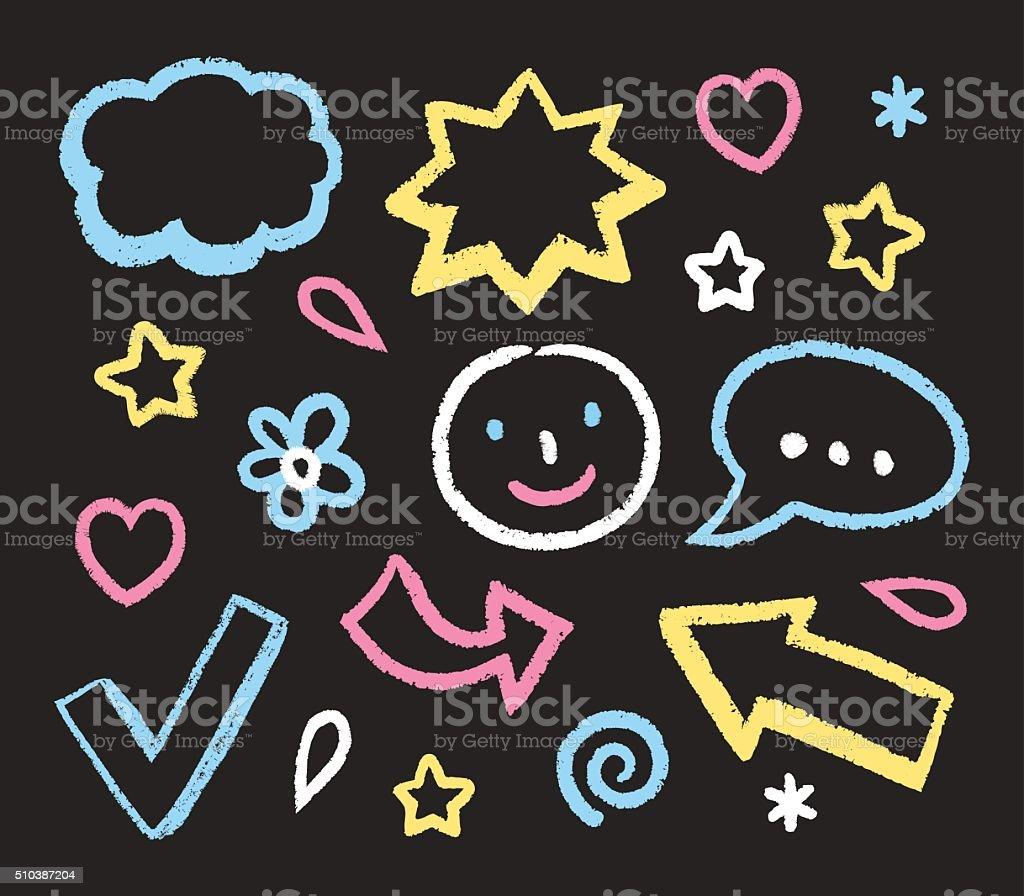 Hand Drawn Chalk Doodles vector art illustration