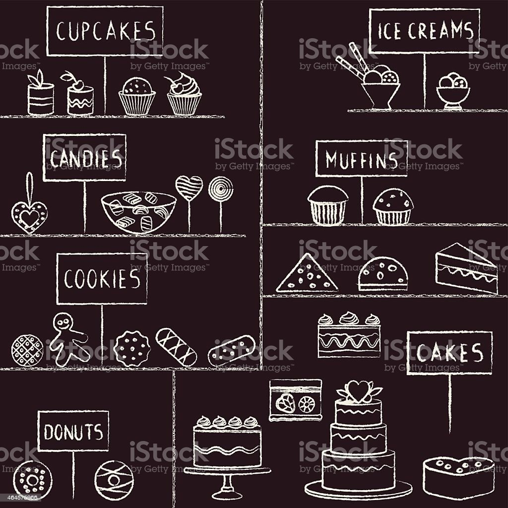 Hand drawn chalk stroked confectionery set on blackboard vector art illustration
