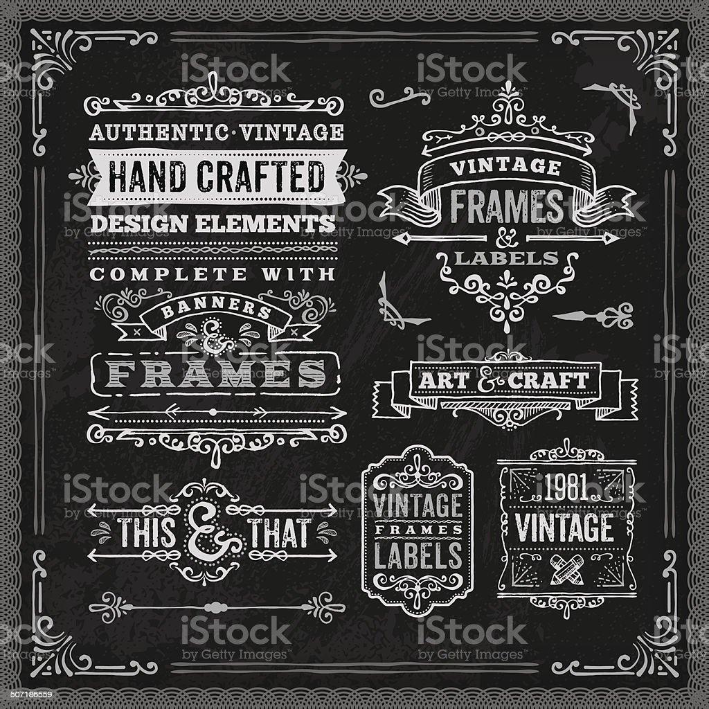 Hand Drawn Chalk Vintage Label Set vector art illustration