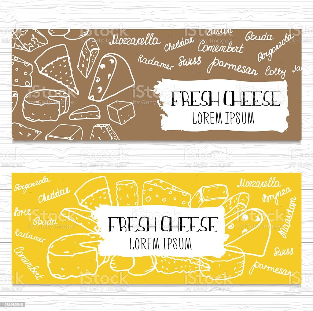 Hand drawn cheese banners set. Template for cheese shop,etc vector art illustration