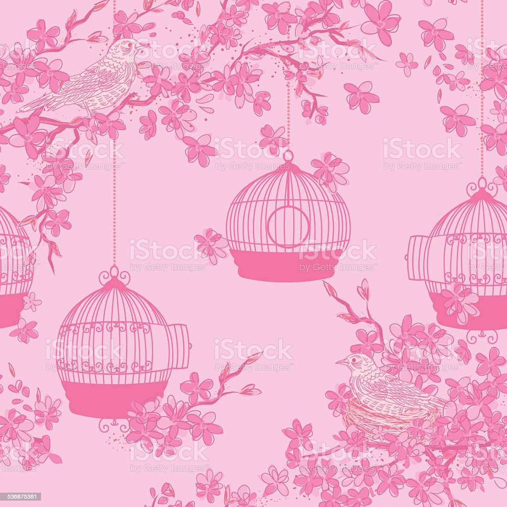 Hand Drawn Cherry Blossoms And Birds Tree Background Pattern vector art illustration