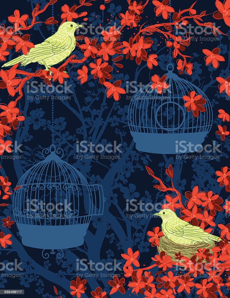 Hand Drawn Cherry Blossoms And Birds Tree Background vector art illustration