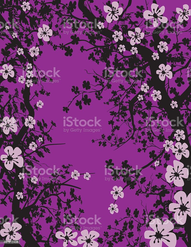 Hand Drawn Cherry Blossoms Tree Background vector art illustration