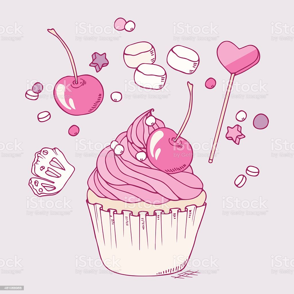 Hand drawn cherry cupcake clip art vector art illustration
