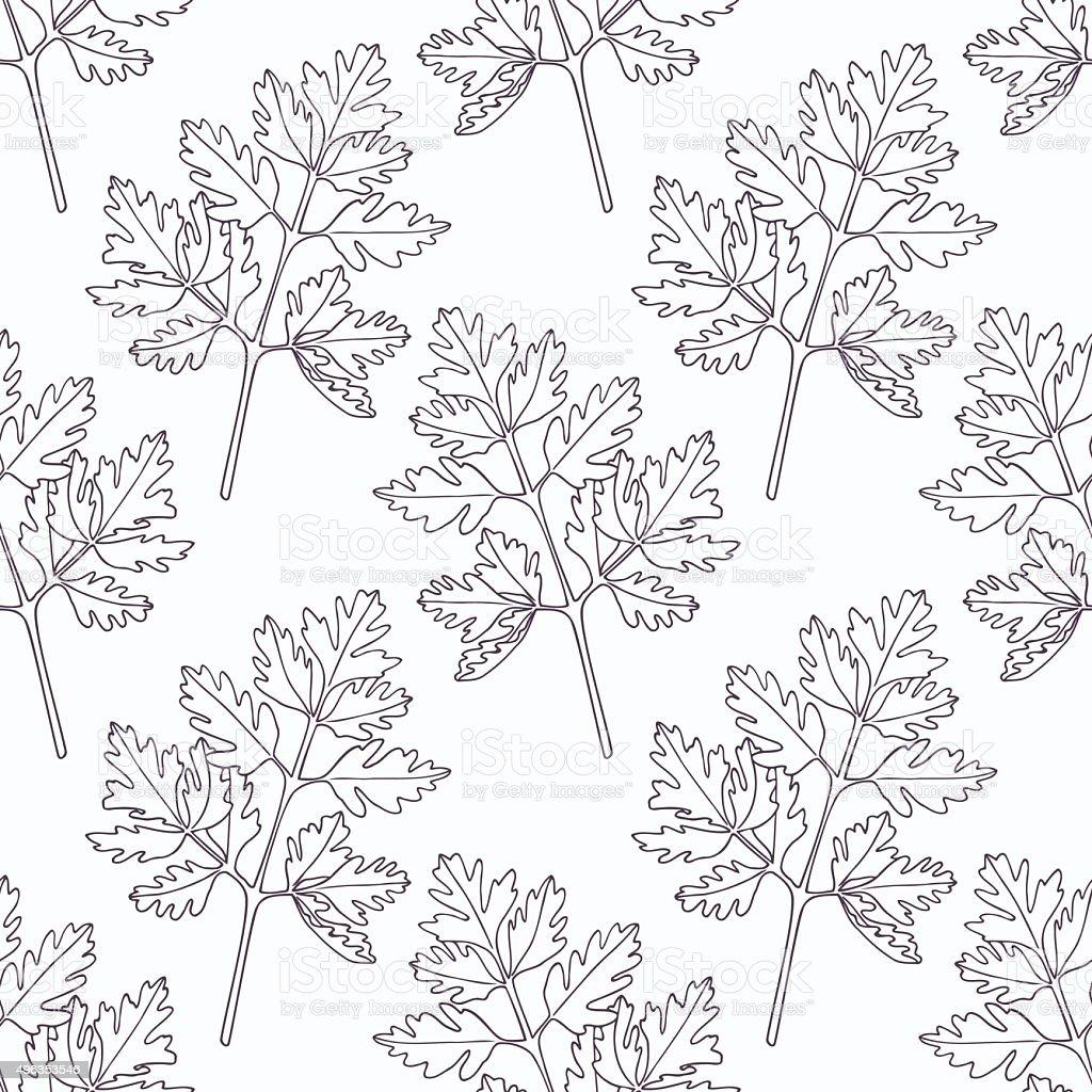 Hand drawn chervil branch outline seamless pattern vector art illustration