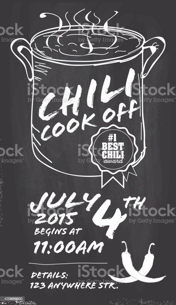 Hand drawn Chili cookoff invitation design template on chalkboard background vector art illustration
