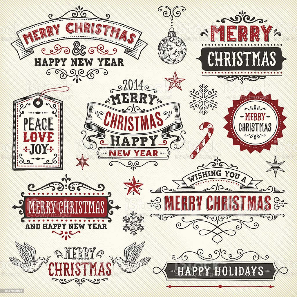 Hand Drawn Christmas Banners and Labels royalty-free stock vector art