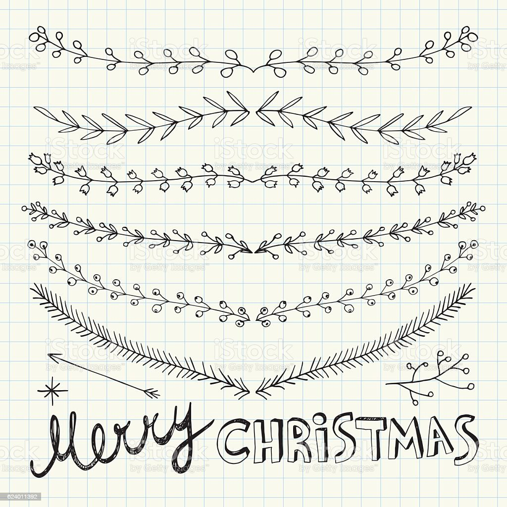 Hand Drawn Christmas Decorative Elements, Doodles and Borders vector art illustration