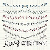 Hand Drawn Christmas Decorative Elements, Doodles and Borders