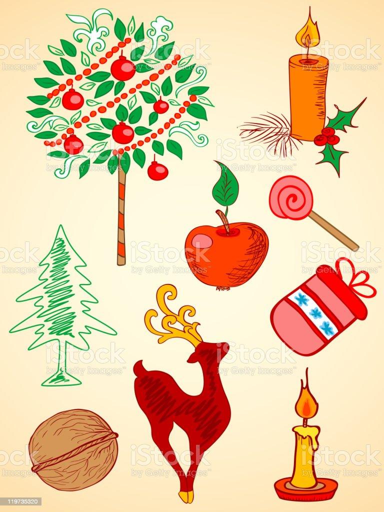 hand drawn Christmas  elements royalty-free stock vector art
