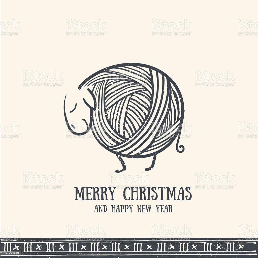 Hand drawn christmas greeting card vector art illustration
