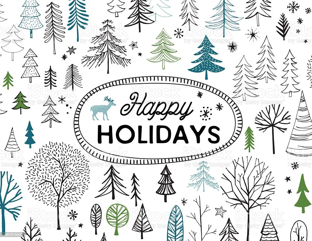 Hand Drawn Christmas, Holiday Trees Card vector art illustration