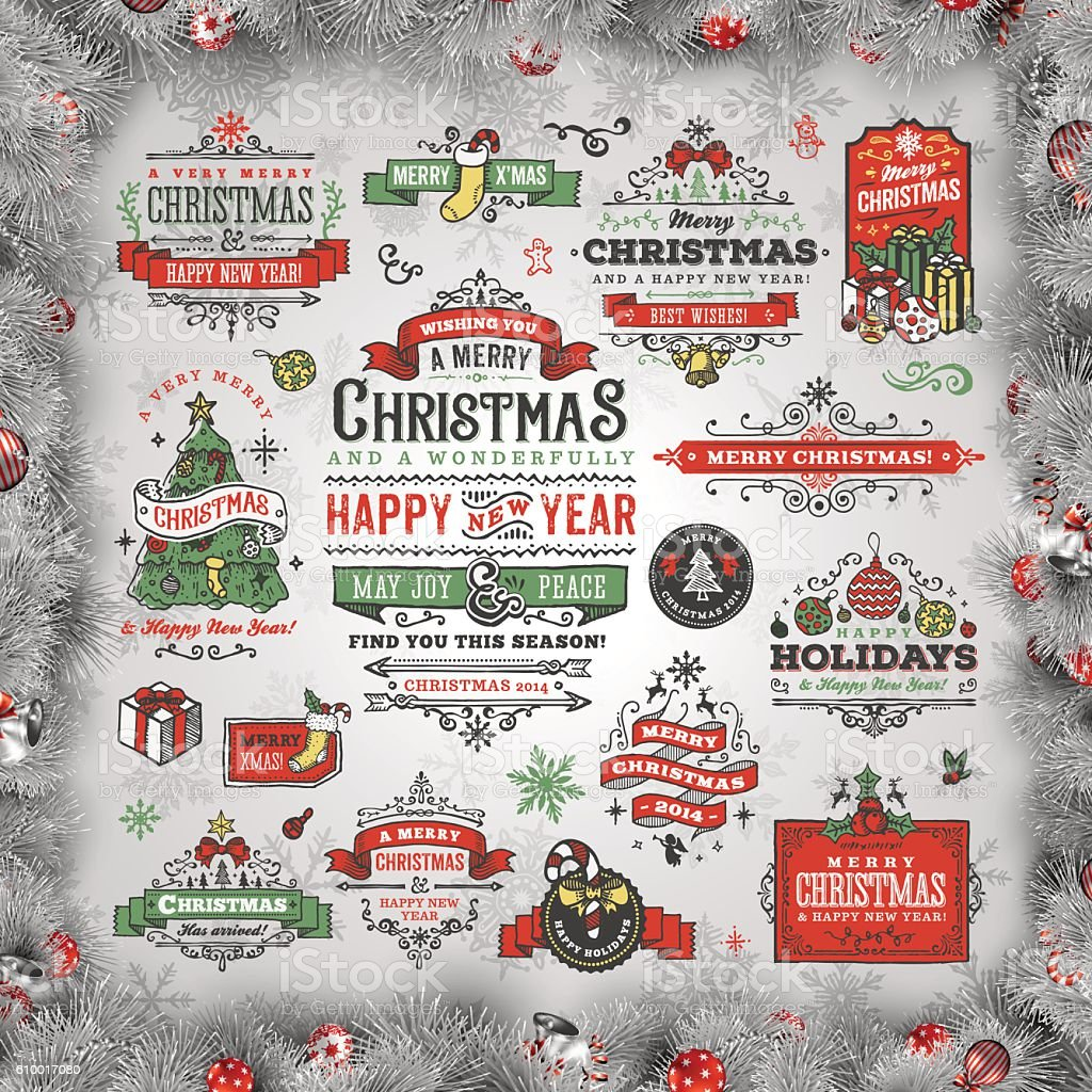 A set of hand drawn christmas labels & badges. EPS 10 file, with...