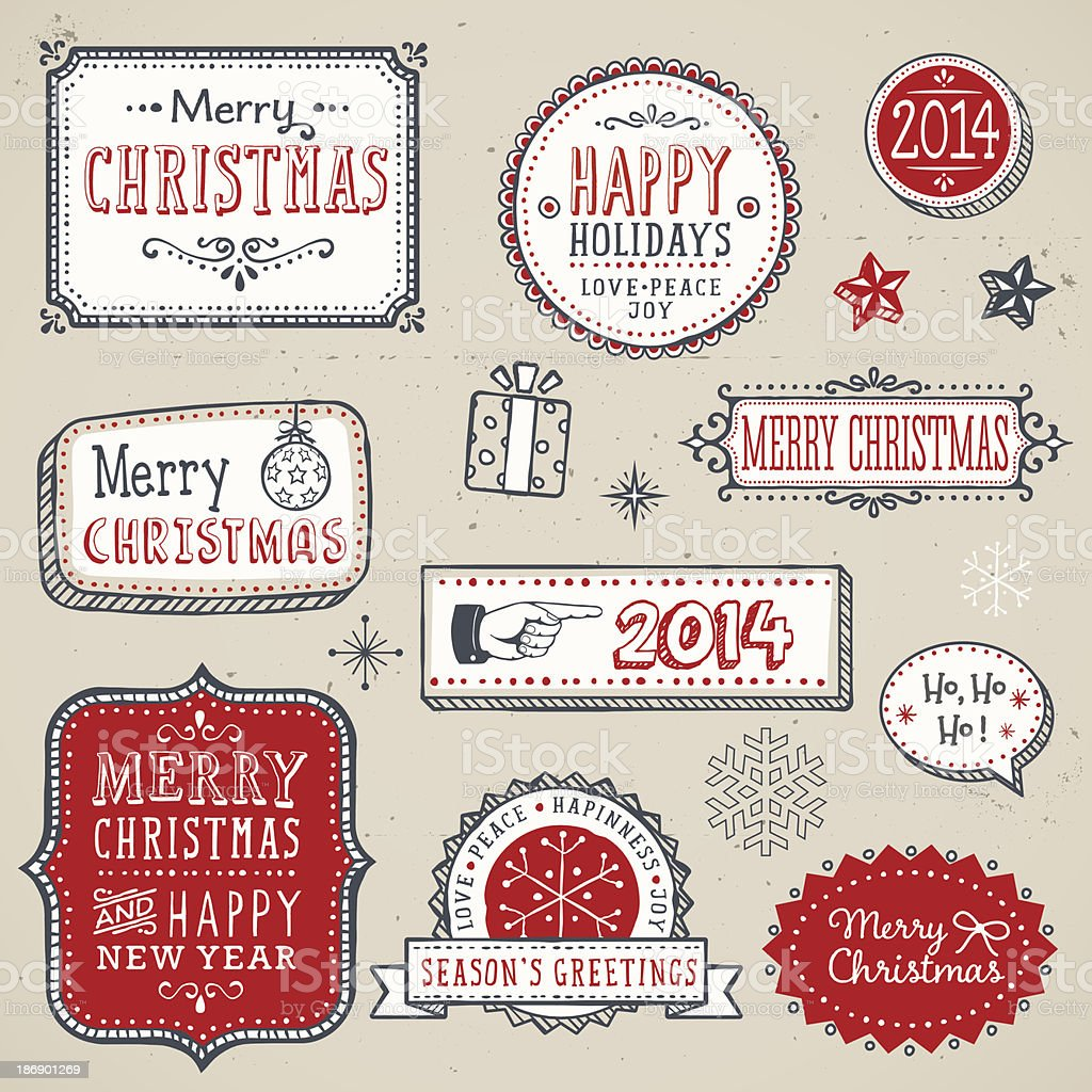 Hand Drawn Christmas Labels and Elements vector art illustration