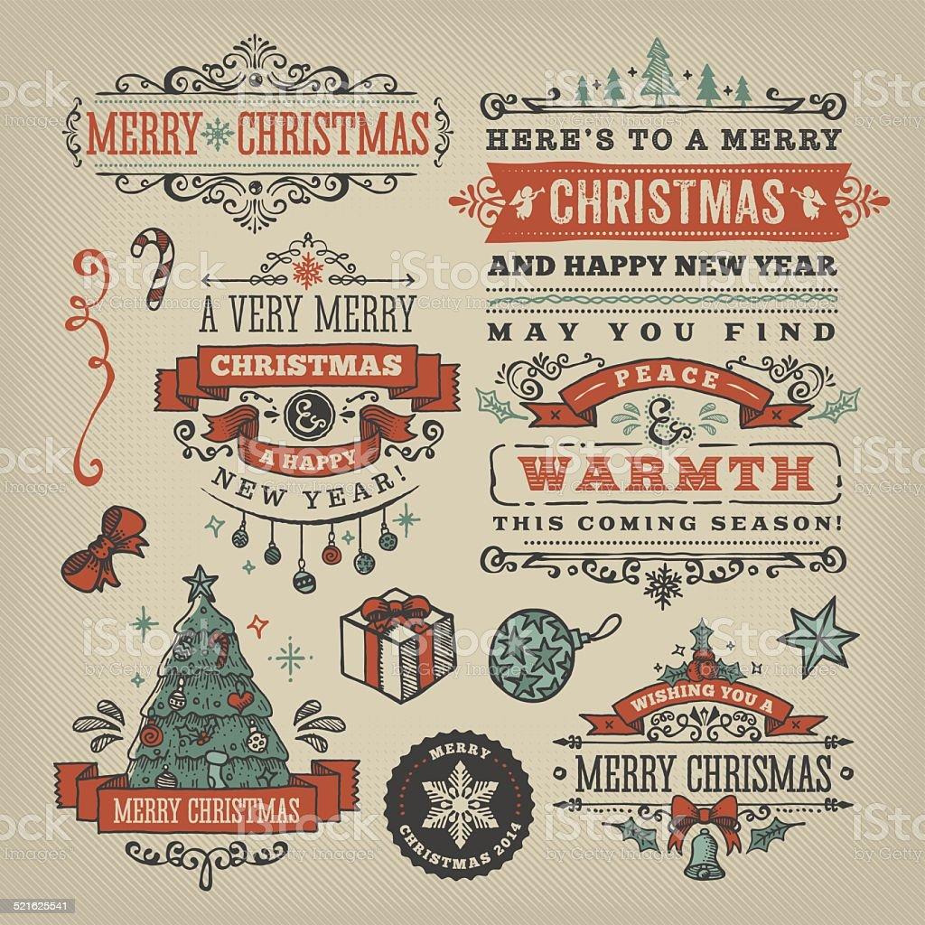 Hand Drawn Christmas Labels & Badges vector art illustration