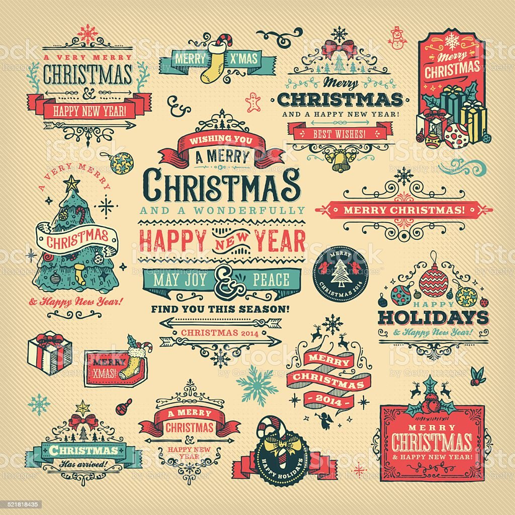 Hand Drawn Christmas Labels & Badges vector art illustration