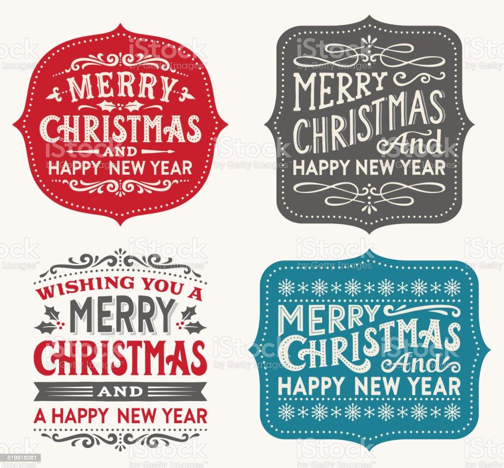 Hand Drawn Christmas Labels vector art illustration