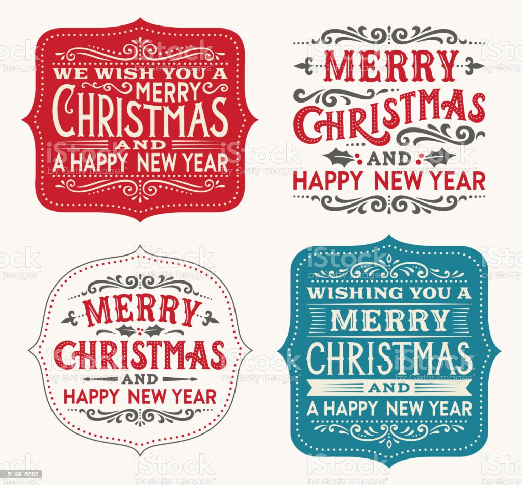 Hand Drawn Christmas Labels vector art illustration