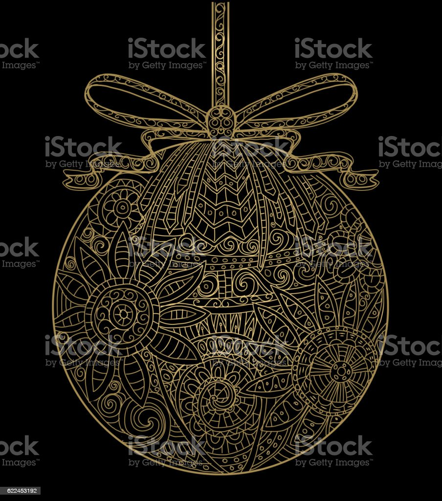 Hand drawn Christmas Ornament with ribbon golden tangle vector art illustration