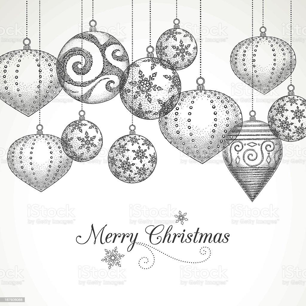 Hand Drawn Christmas Ornaments royalty-free stock vector art