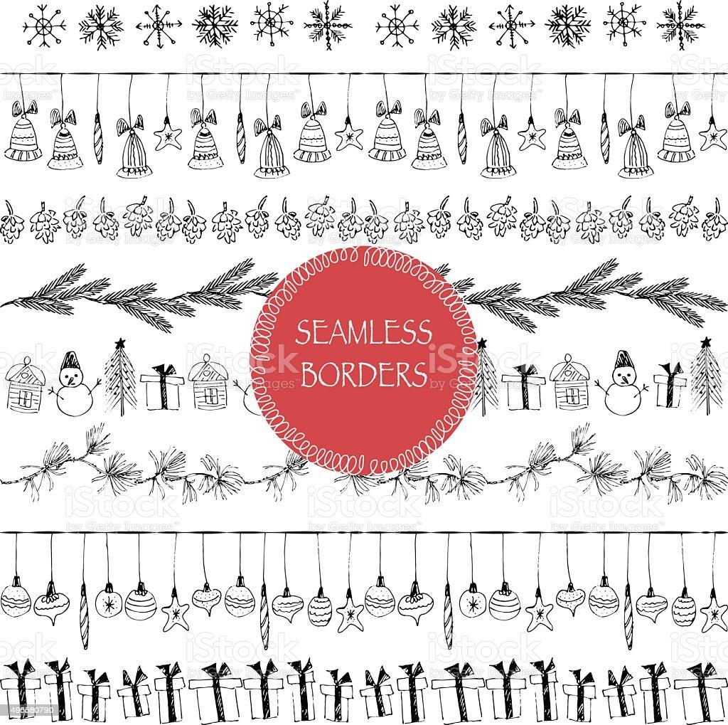 Hand drawn christmas stripe ornament border set in black ink. vector art illustration