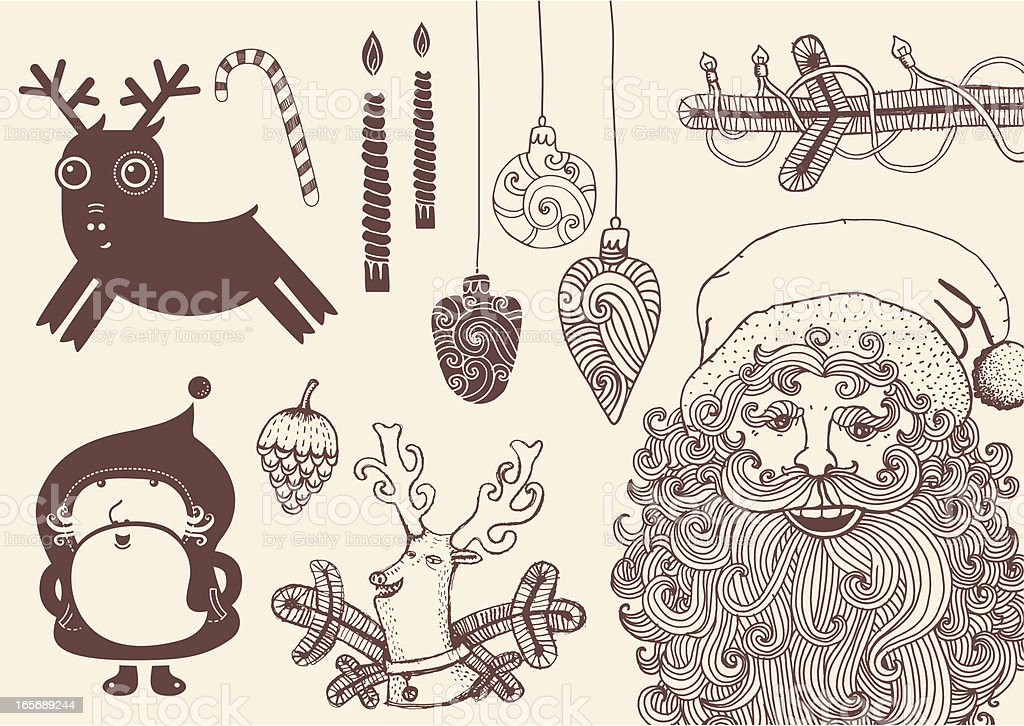Hand drawn Christmas theme set: Santa, Reindeer, Christmas tree, candles royalty-free stock vector art
