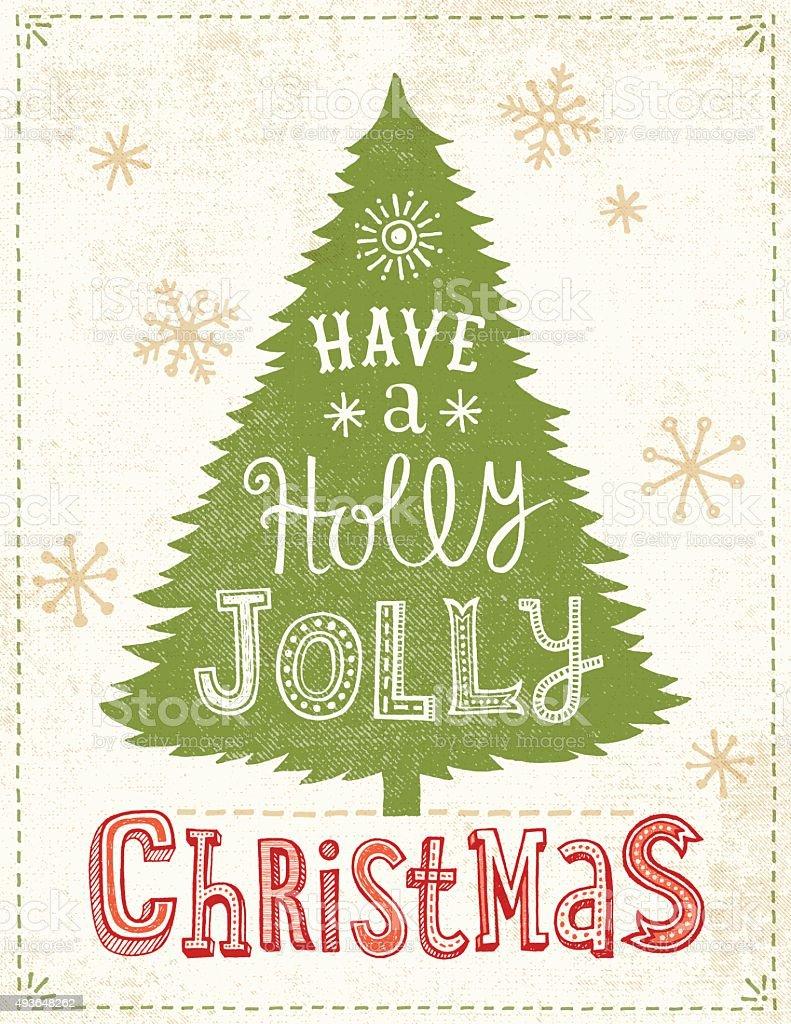 Hand Drawn Christmas Tree Card vector art illustration