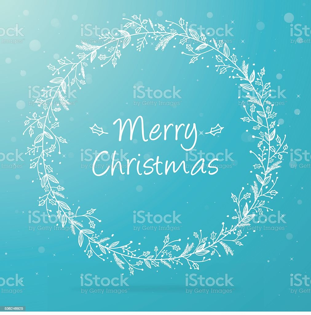 Hand drawn christmas wreath on blue background vector art illustration