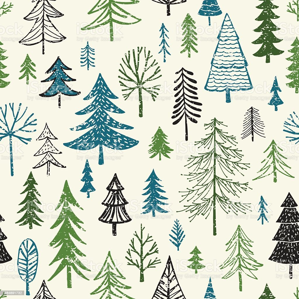Hand Drawn Christmas/Holiday Trees Pattern vector art illustration