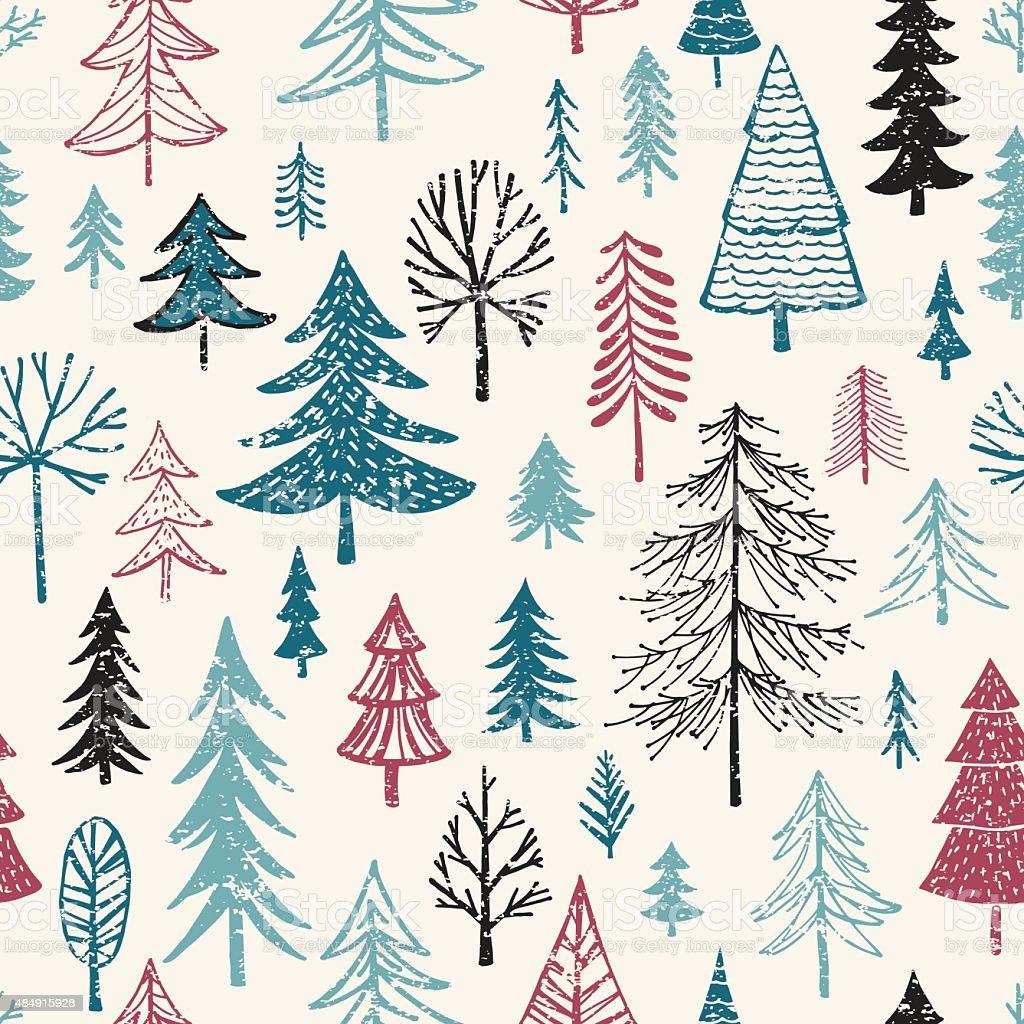 Hand Drawn Christmas/Holiday Trees Pattern vector art illustration