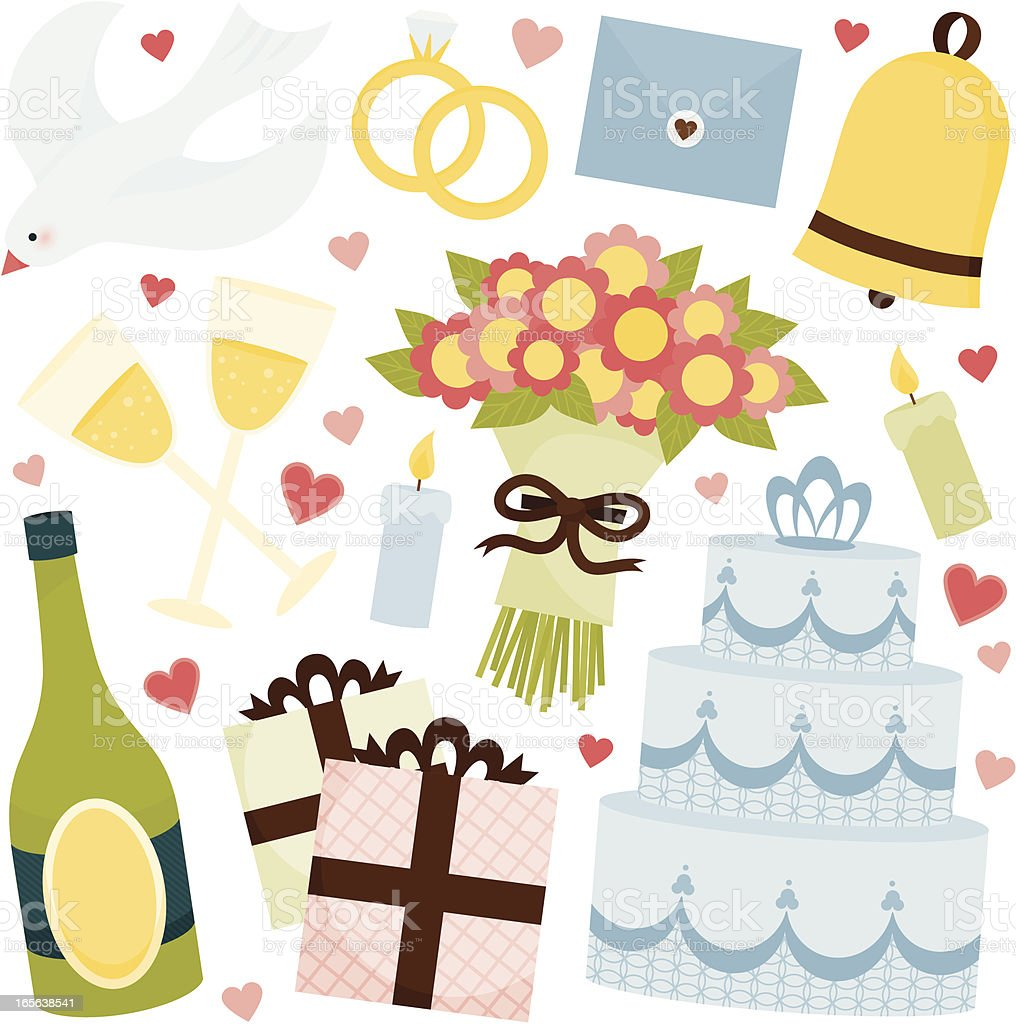 Hand drawn clipart for a wedding day celebration vector art illustration
