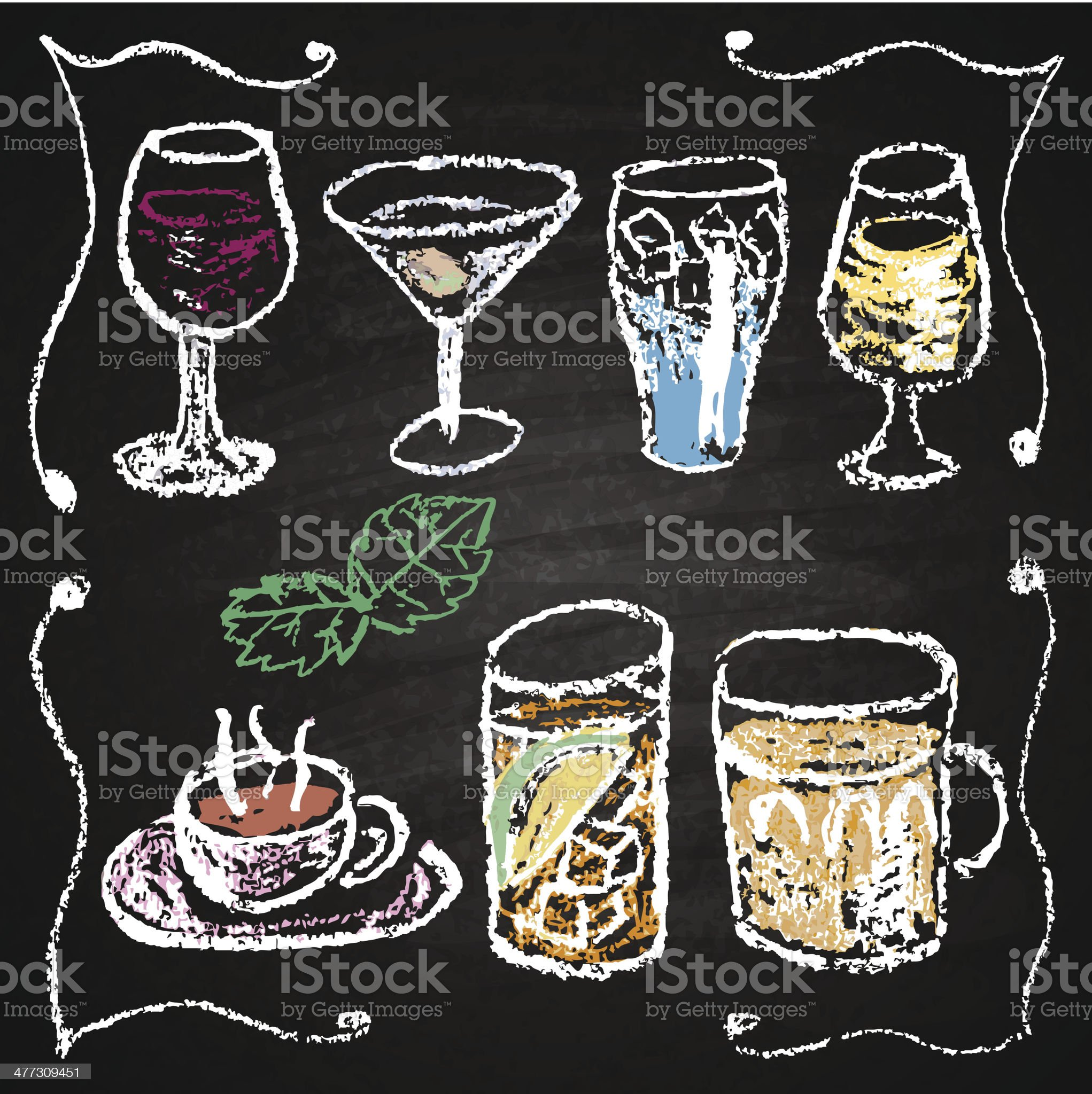 Hand drawn cocktail menu elements. royalty-free stock vector art