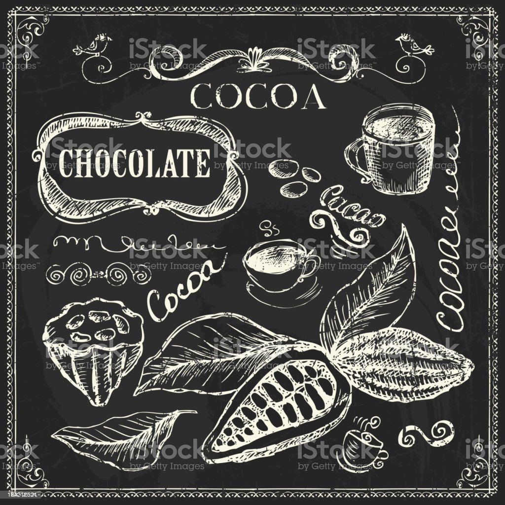 Hand drawn cocoa and chocolate doodles royalty-free stock vector art