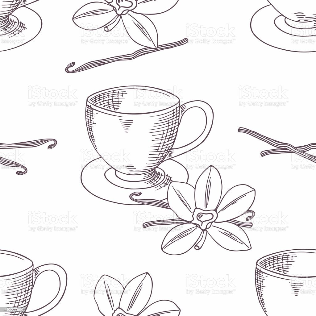 Hand drawn coffee cup with vanilla seamless pattern. Outline background vector art illustration