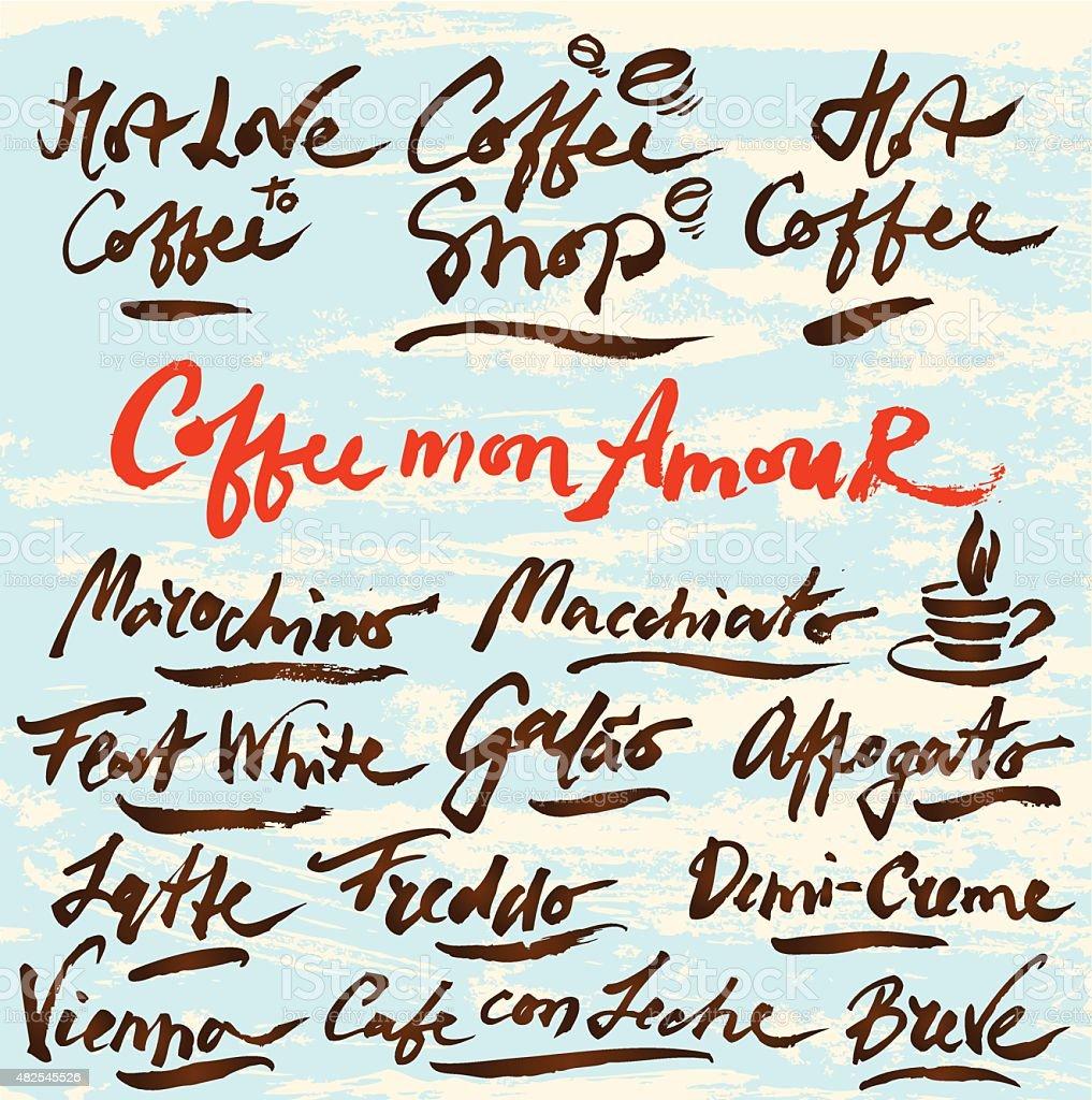 Hand Drawn Coffee Guide,Vector Set #2 vector art illustration