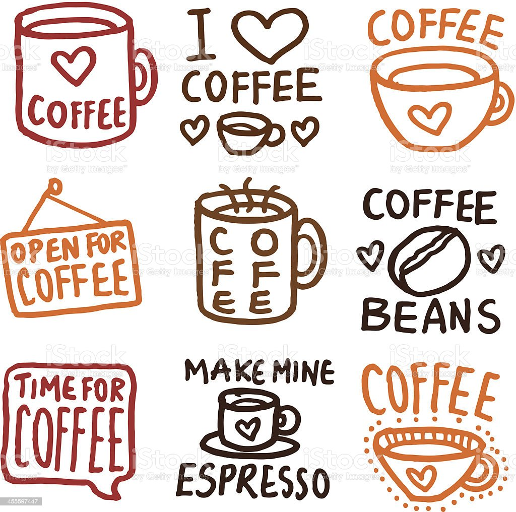 Hand drawn coffee icons doodle icon set royalty-free stock vector art