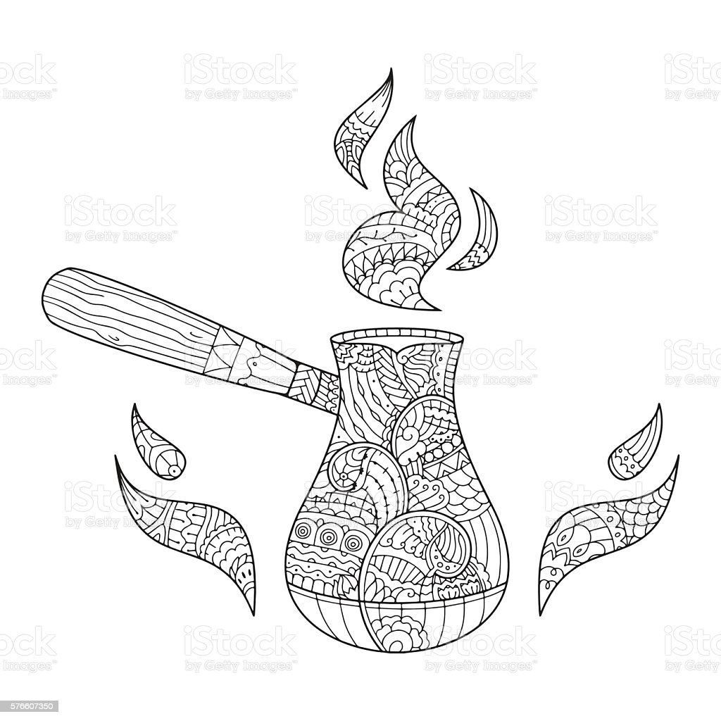 Hand drawn coffee in cezve in style. vector art illustration
