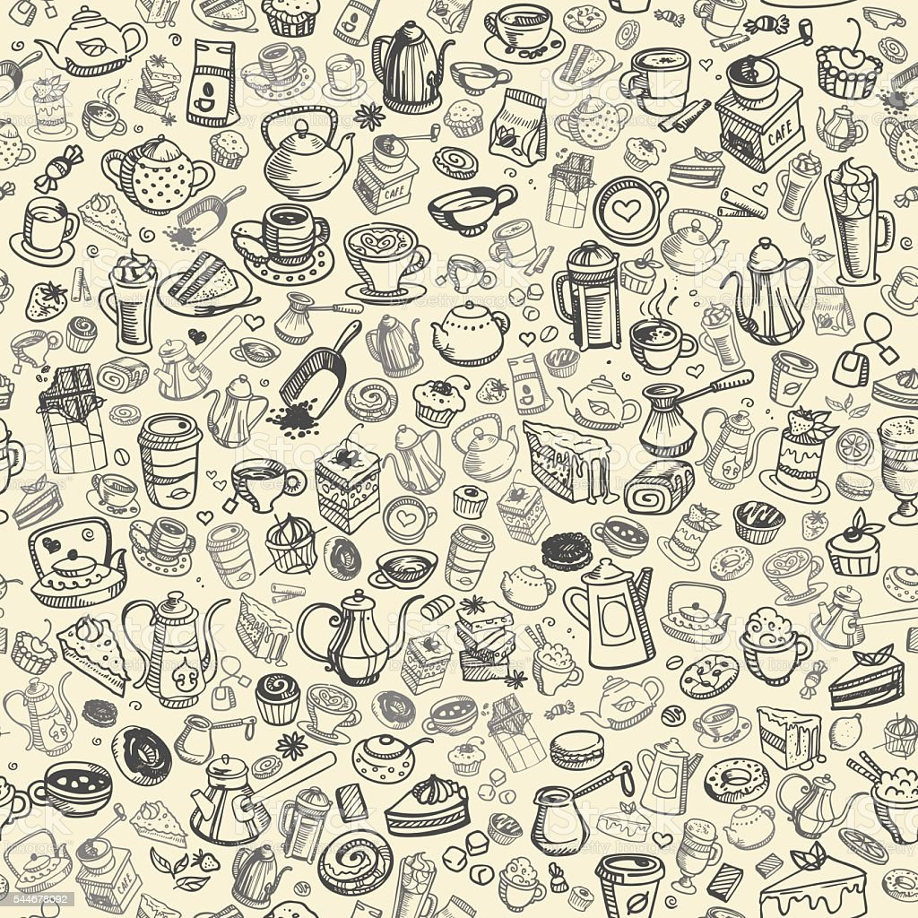 hand drawn coffee pattern vector art illustration